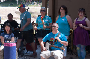 Everyone joined in the Rhythm Circle with Josh playing guitar at the 2015 Celebration of Gratitude